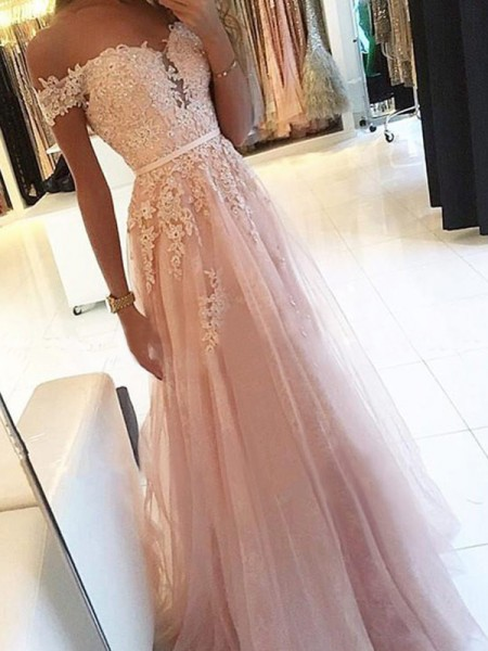 A-Line/Princess Floor-Length Tulle Off-the-Shoulder Applique Sleeveless Dresses
