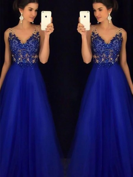A-Line/Princess Floor-Length Tulle V-neck Applique Sleeveless Dresses