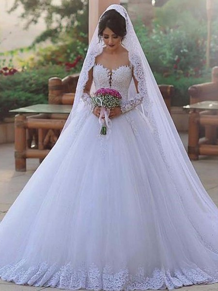 Ball Gown Sweep/Brush Train Tulle Sweetheart Long Sleeves Wedding Dresses