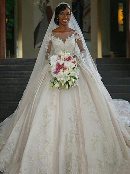 Ball Gown Sweep/Brush Train Satin Bateau Applique Long Sleeves Wedding Dresses