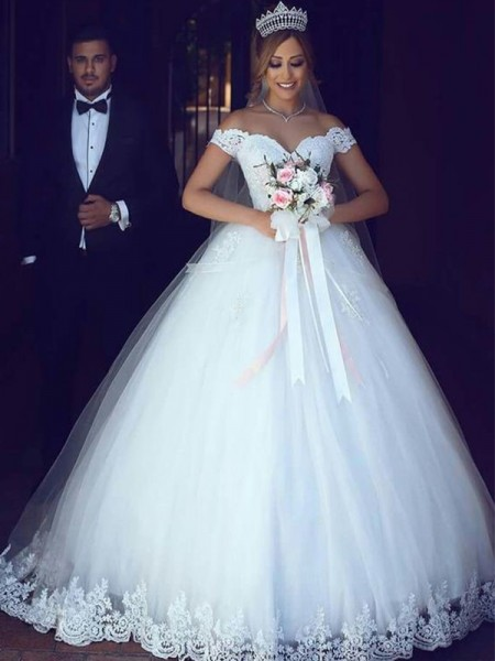 Ball Gown Floor-Length Tulle Off-the-Shoulder Sleeveless Wedding Dresses