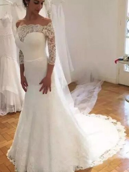 Trumpet/Mermaid Sweep/Brush Train Lace Off-the-Shoulder Ruffles 3/4 Sleeves Wedding Dresses