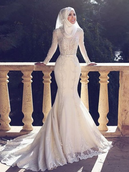 Trumpet/Mermaid Sweep/Brush Train Tulle Jewel Long Sleeves Wedding Dresses