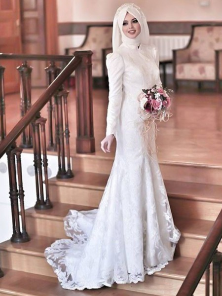 Trumpet/Mermaid Sweep/Brush Train Tulle High Neck Long Sleeves Wedding Dresses