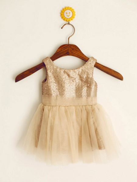 A-Line/Princess Sleeveless Scoop Sequins Floor-Length Sequin Flower Girl Dresses