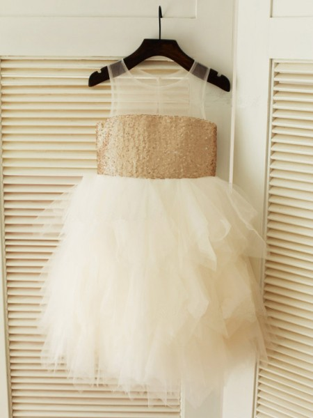 Ball Gown Sleeveless Scoop Tulle Tea-Length Ruffles Flower Girl Dresses