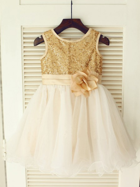 A-Line/Princess Sleeveless Scoop Organza Knee-Length Sequin Flower Girl Dresses