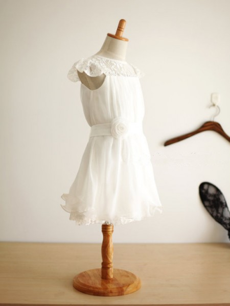 A-Line/Princess Sleeveless Scoop Chiffon Knee-Length Hand-Made Flower Flower Girl Dresses