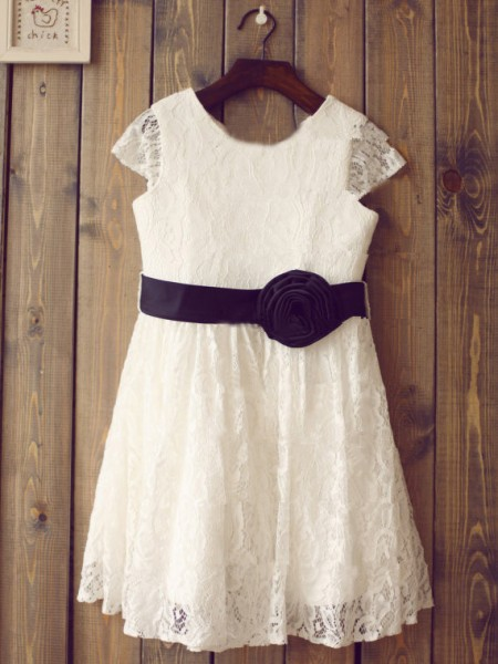 A-Line/Princess Short Sleeves Scoop Lace Tea-Length Hand-Made Flower Flower Girl Dresses