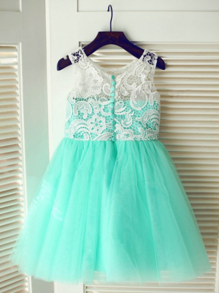 A-Line/Princess Sleeveless Scoop Tulle Tea-Length Flower Girl Dresses
