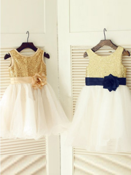 A-Line/Princess Sleeveless Scoop Tulle Tea-Length Hand-Made Flower Flower Girl Dresses