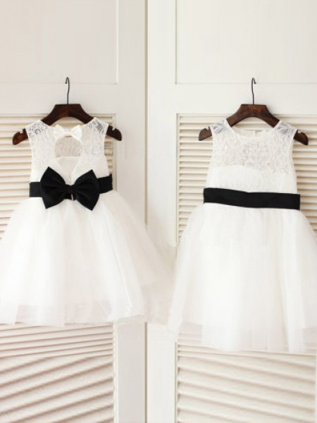 A-Line/Princess Sleeveless Scoop Tulle Knee-Length Bowknot Flower Girl Dresses